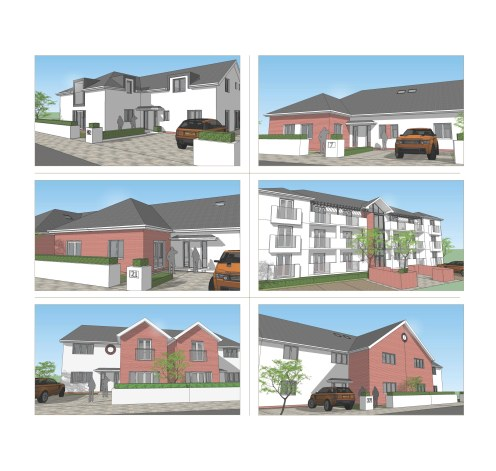 Development of six typical typologies from bungalows to apartments